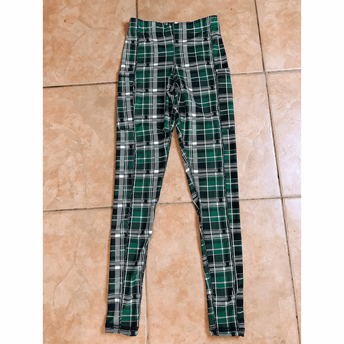 Double pocket pants cold gear green plaid stock
