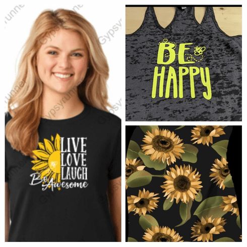 Double pocket sunflower shorts and tank