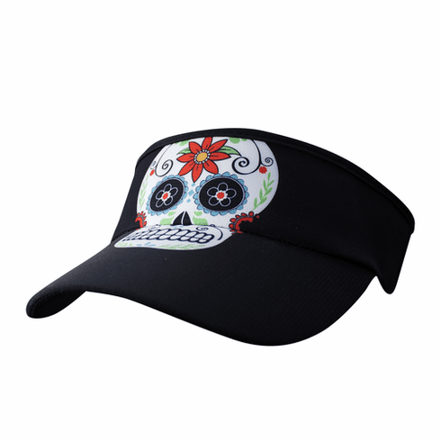 Headsweats visor black sugar skull