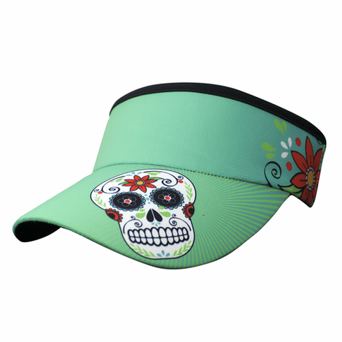 Headsweats visor green sugar skull