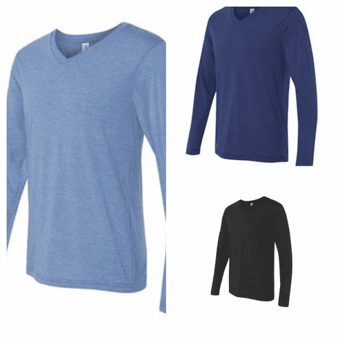 Tops Unisex Long Sleeve Triblend V-Neck
