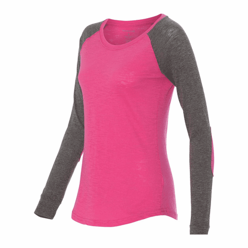 Raglan with elbow patches Fuschia