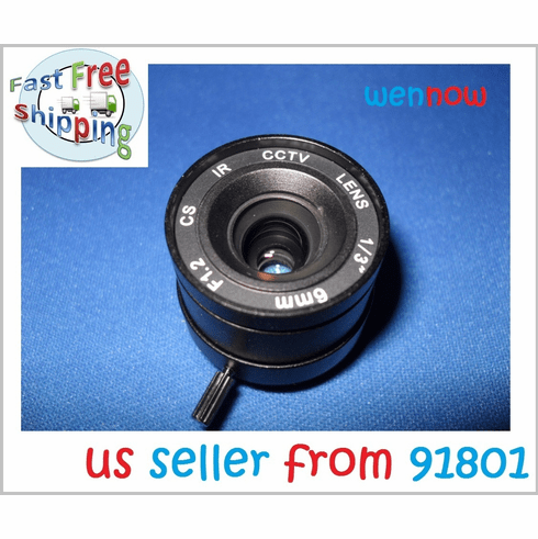 1/3 Inch 6mm IR F1.2 Fixed Iris CS Mount Lens W/IR Correction