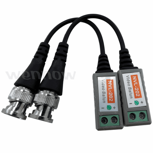 1 PAIRS ( 2 Pcs ) Mini CCTV BNC Video Balun with Lead Coax Cable