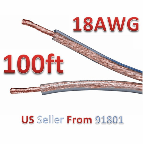 100ft 18AWG Oxygen-Free Copper Speaker Wire