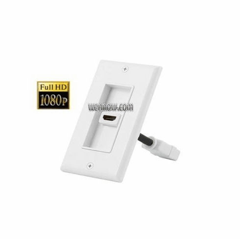 1080P HDMI Two-Piece Inset 1.3a Wall Plate 1 Port White