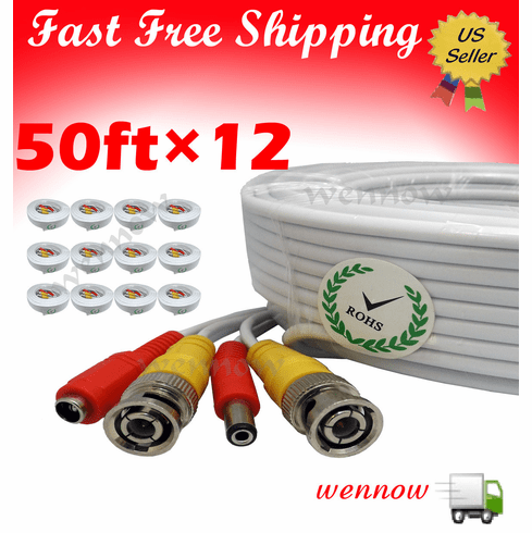 12x White 50 ft Power & Video Cable for Security CCTV use / Zmodo / Sw