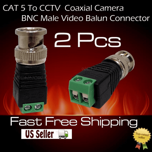 2 pcs Coax CAT5 To CCTV Coaxial Camera BNC Male Video Balun Connector