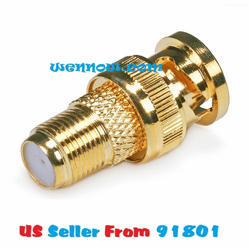 2 Pcs Replacement BNC Male to F Female Plug Metal Adapter Connectors