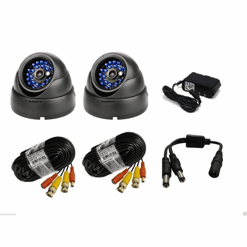 2 x Wide Angle 3.6mm Lens CMOS 600TV Lines IR Weatherproof Outdoor Dome Camera
