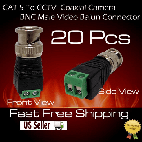 20 pcs Coax CAT5 To CCTV Coaxial Camera BNC Male Video Balun Connector