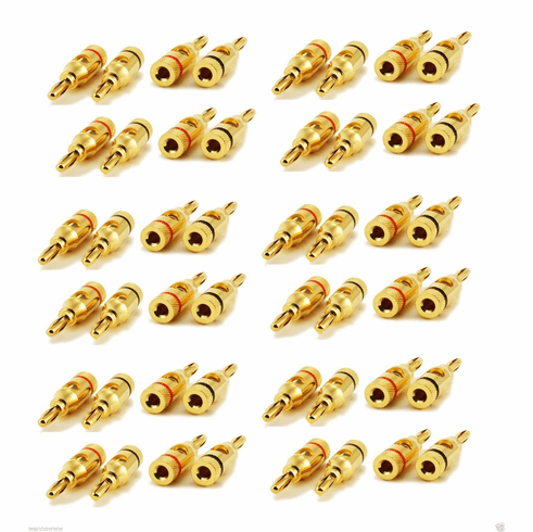 24 PAIR OF High-Quality Gold Plated Speaker Banana Plugs Open Screw Ty