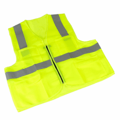 2pack Zipper Safety Vest w/ Reflective Strips and 4 Pockets (Neon Gree