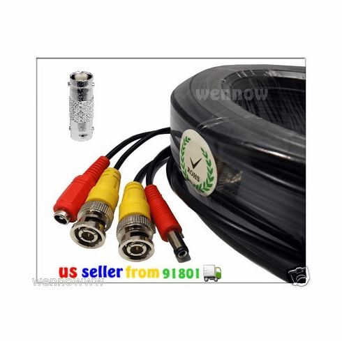 2x Black 165 ft Power & Video Cable for Security CCTV use / Zmodo / Sw