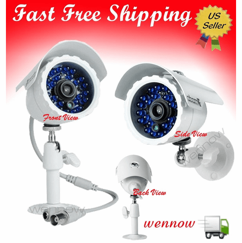 3.6mm Wide Angle 65' Weatherproof 24 IR Night Vision Security Camera