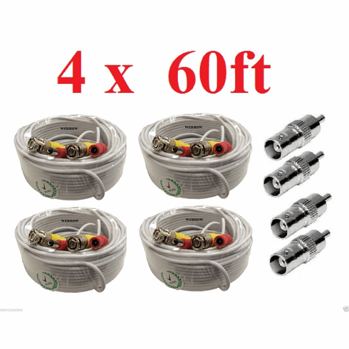 (4) New 60ft BNC CCTV Video Power Cable CCD Security Camera DVR Wire C