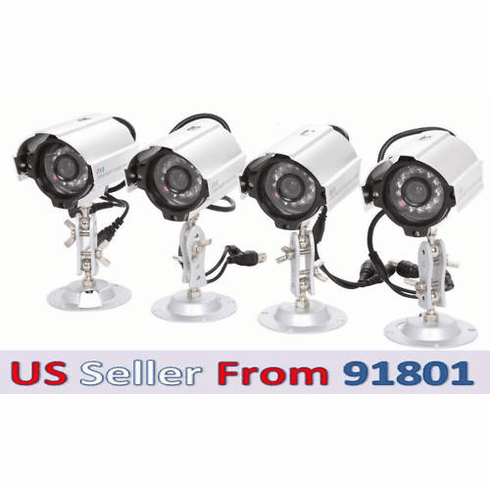 4-Pack Color CMOS Night Vision Weather Proof Cameras