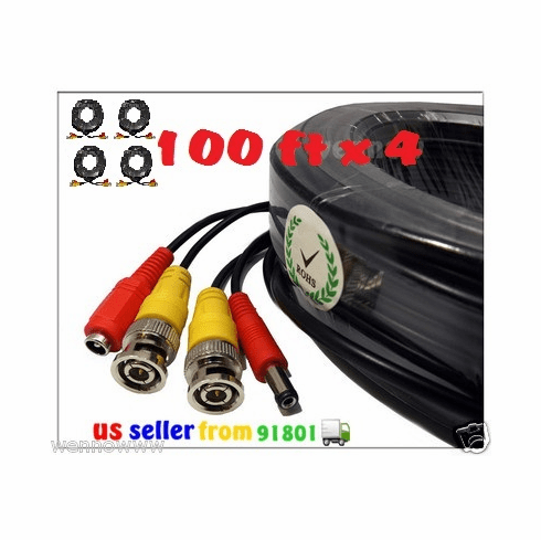 4x Black 100 ft Power & Video Cable for Security CCTV use / Zmodo / Sw