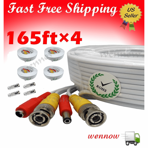 4x White 165ft Power & Video Cable for Security CCTV use / Zmodo / Swa
