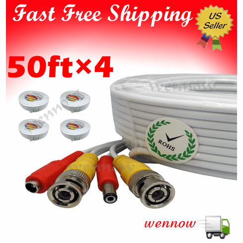 4x White 50 ft Power & Video Cable for Security CCTV use / Zmodo / Swa
