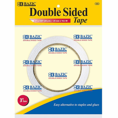 """BAZIC 1"""" X 20 Yard (720"""") Double Sided Tape, Box Pack of 12"""