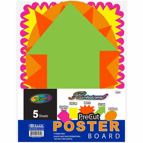 BAZIC 5 Pre-Cut Poster Board Shapes, Case Pack of 48