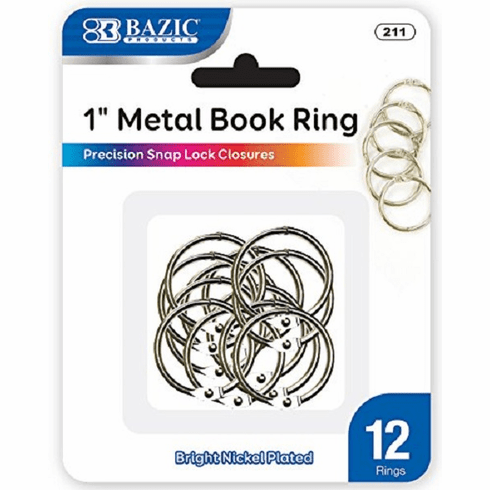 BAZIC Metal Book Rings, 1 Inch, Silver for School, Home, or Office