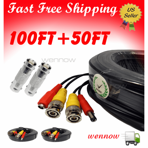Black 100ft+50ft Power & Video Cable for Security CCTV use/Zmodo/Swann