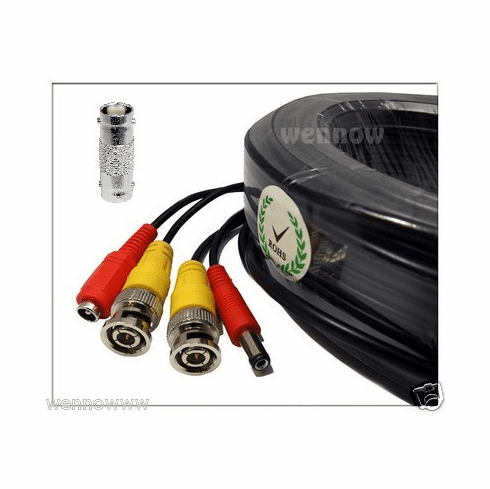 Black 200 ft Power & Video Cable for Security CCTV use / Zmodo / Swann