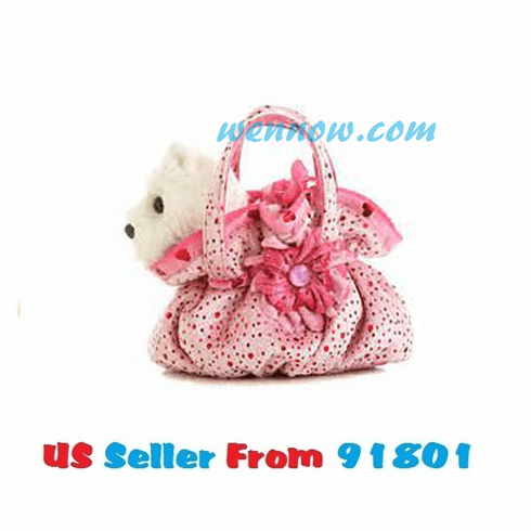 Fancy Pal PINK SCRUNCHY WHITE SCOTTY DOG CARRIER BAG