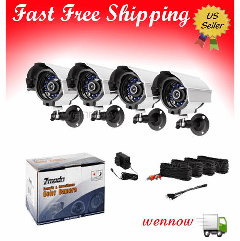 Four CMOS Weatherproof Bullet Security Surveillance Cameras Kit