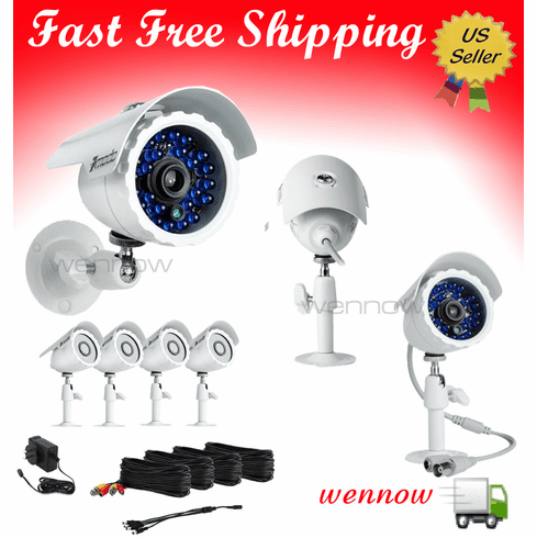 Four Wide Angle Sharp CCD 65' IR Night Vision Security Camera Kit