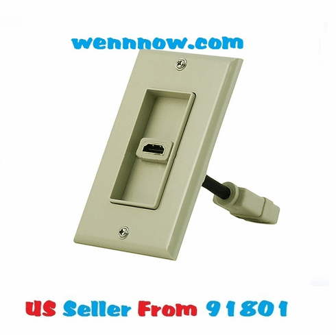 """HDMI Wall Plate w 4"""" Built-in Flexible Extension Cable"""