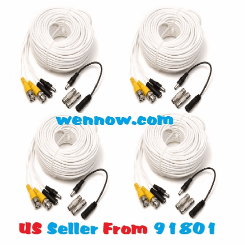 Lot 4 QS100B 100FT BNC Male Cable w 2 Female Connectors