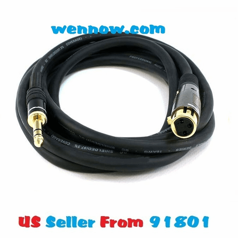 Premier Series XLR F to 1/4inch TRS M 16AWG Cable 10ft