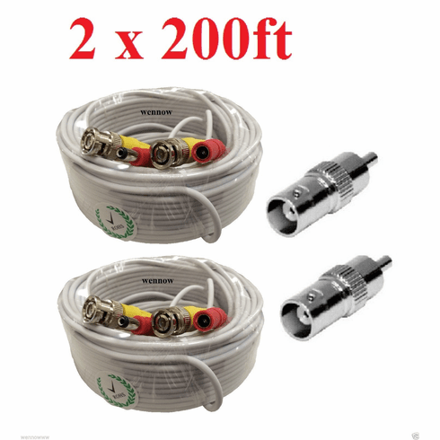 Premium Quality 2 x 200Ft Video Power BNC Cable for Night Owl Security
