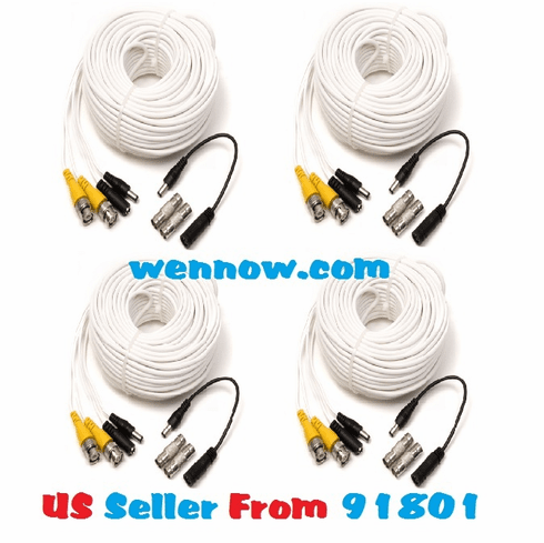 Q-See 4 x 50FT CCTV BNC Male Cables w/ 2 F Connectors
