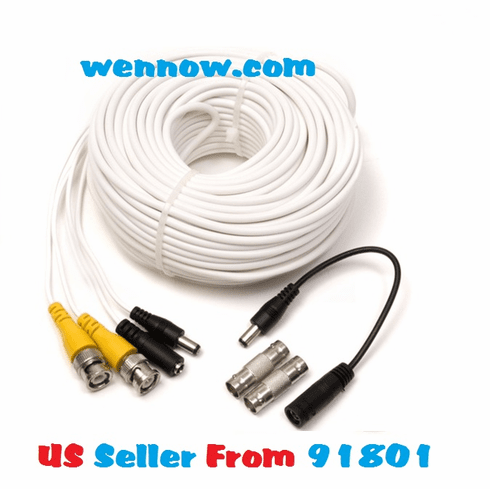 Q-See QS100B 100FT BNC Male Cable w 2 Female Connectors