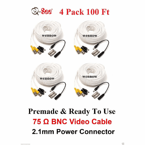 Q-SEE QS100B- 4 Packs 100FT Extension CCTV Surveillance Security Camer