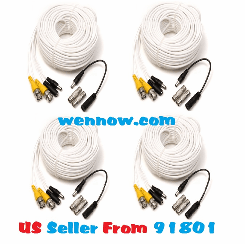 Q-See QS50B 4 x 50FT BNC Male Cable w/ 2 Female Connectors