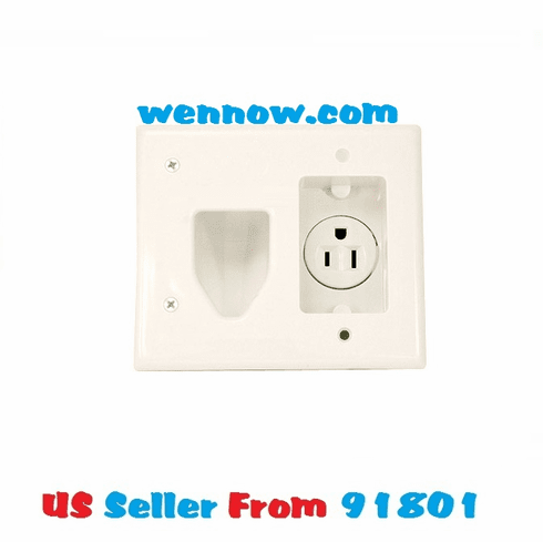 Recessed Low Voltage Cable Wall Plate W/ Recessed Power