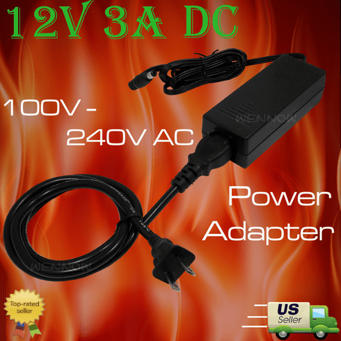 Surveillance Camera 12V 3A DC Power Adapter with power cord