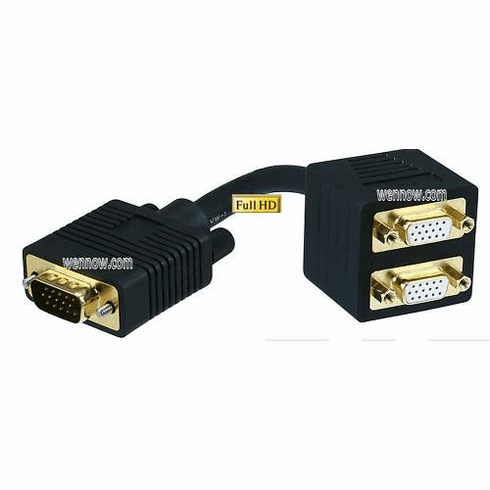 VGA Splitter - M to F X 2 =1 PC to 1 Monitors & 1 TV