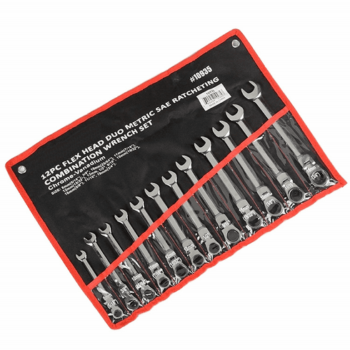 WennoW 12pc Flex Head Duo Metric And SAE Ratcheting Combination Wrench Set