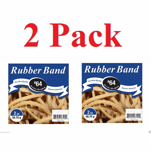 Wennow 2 Pack Natural Color 3 1/2 × 1/4 Inch Superior Elasticity Rubber Band