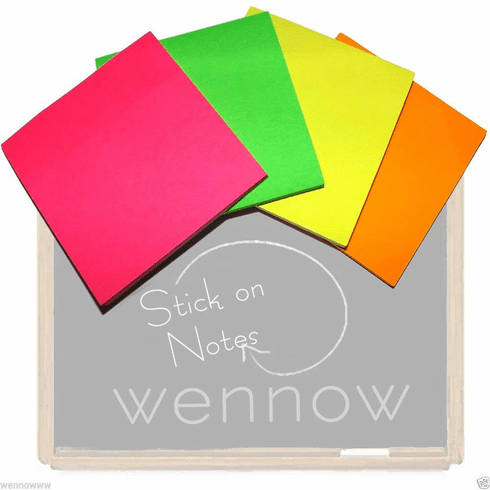 Wennow 3 × 3 inch Neon Stick on Notes (40 Count) 4 Per Pack