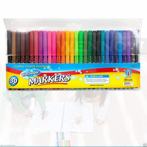 WennoW 30 Pcs Fine Line Washable Watercolor Markers