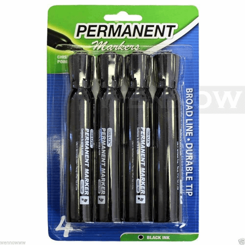Wennow 4 Pcs Black Broad Line Durable Tip Permanent Marker