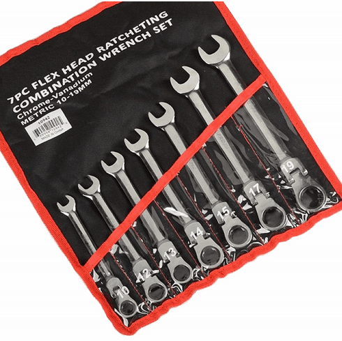 WennoW 7pc 10-19mm Flex Head Ratcheting Combination Wrench Set -Metric-
