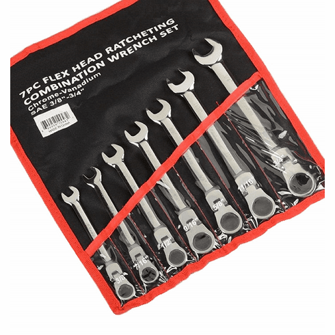 "WennoW 7pc SAE 3/8""- 3/4"" Flex Head Ratcheting Combination Wrench Set"